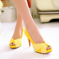 New Fashion Women High Heel Sandals Open Toe Super High Heels Platform Lace Sweet Bowknot Shoes Pumps Big size 34-43