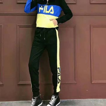 """""""FILA""""Woman's Leisure Fashion Letter Personality Printing Spell Color Long Sleeve Elastic Band Trousers Two-Piece Set Casual Wear Sportswear"""