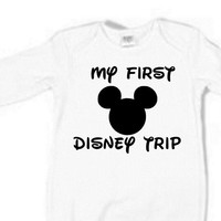 My First Disney Trip Micky Mouse Boy Girl Unisex 3 colors white baby blue baby pink