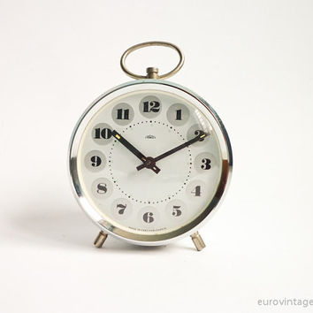 Vintage Alarm Clock White Gray Mechanical Manual Wind Up 70s