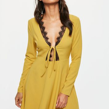 Missguided - Mustard Yellow Lace Trim Skater Dress
