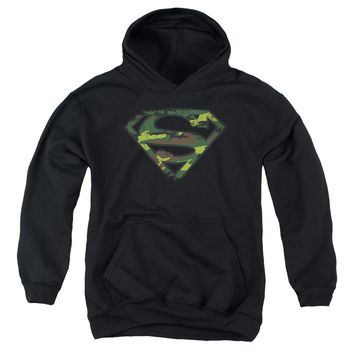 Superman - Distressed Camo Shield Youth Pull Over Hoodie