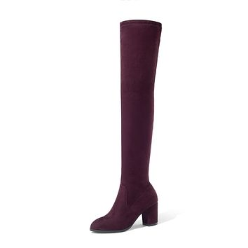 Velvet Over the Knee Boots Winter Shoes for Woman 1492