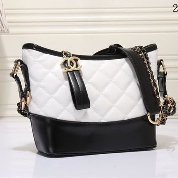 """""""Chanel"""" Women Personality Fashion Multicolor Quilted Bucket Bag Single Shoulder Messenger Bag"""