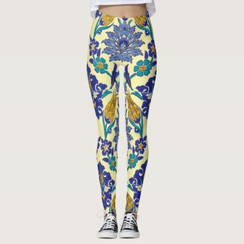 Monogram Azulejo Ceramic Style Vintage Ornament Leggings