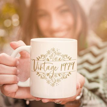 Personalized Vintage Birthday Gold Floral Coffee Mug