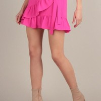 EVE ELECTRIC PINK RUFFLE TIE SKIRT
