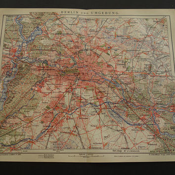 BERLIN old map 1905 original antique German city plan about Berlin area vintage detailed maps poster alte karte von Stadtplan 25x30c 10x12""
