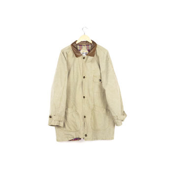 90s canvas barn coat / vintage 1990s / minimal chore jacket / tan beige / leather / basic / flannel / baggy / oversized / grunge / L - XL