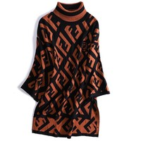 FENDI Autumn Winter Fashionable Women F Letter Jacquard Half Collar Sweater Top Sweatshirt