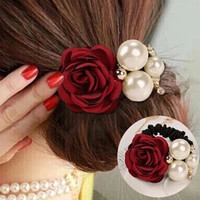 Elastic Rose Flower Scrunchie Ponytail Hair Band Rope hair clips for women headwear Summer Style Hair Accessories