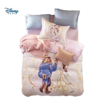 Disney Beauty and Beast Bedding Set Queen Size Girl's Couple Bedroom Decor Egyptian Cotton Comforter Duvet Covers Twin Full Bed