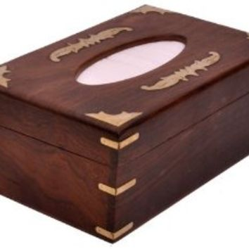 Mothers Day Gifts - Tissue Box Cover - Cool, Big Wood Tissue Paper Holder with Decorative Brass Work, Custom-Made to Fit a Box of 2 Ply, 160 Count Kleenex Facial Tissues, Handmade in Rosewood - Unique Designer Wooden Tissue Holders for Large Tissue Boxes -