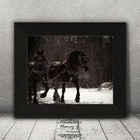 Horse Print, Old Fashioned Image, Sleigh Ride, Winter Photography, Vintage Print, Home Decor, Winter Photo, Equestrian Print, Country Decor