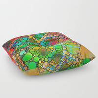 Colorful Bubble Pattern Abstract Floor Pillow by Sheila Wenzel