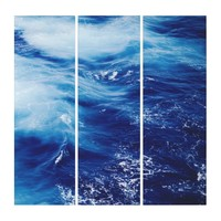 Sparkling Blue Ocean Waves Scene Triptych Wall Art