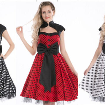 free shipping  real photo new style polka dot vintage dress rockabily vintage pinup dress Slim Swing Dress 3 colors size s-6xl