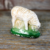 shabby old chalkware lamb figurine //  plaster sheep nativity animal farm ewe