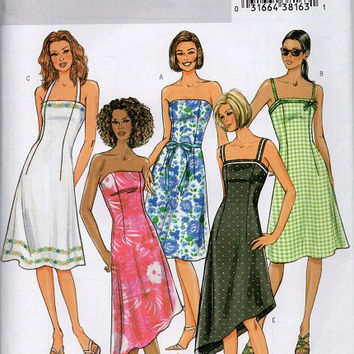 Butterick Sewing Pattern Summer Spring Tea Dress Strapless Halter Bodice Fitted Asymmetrical Hem Casual Dress Uncut Plus Size 18 to 22