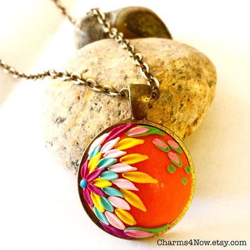 Peacock Necklace Orange Floral Necklace Rainbow Necklace Clay Flower Necklace Spring Jewelry Mothers Day Necklace Floral Clay Charm Gift