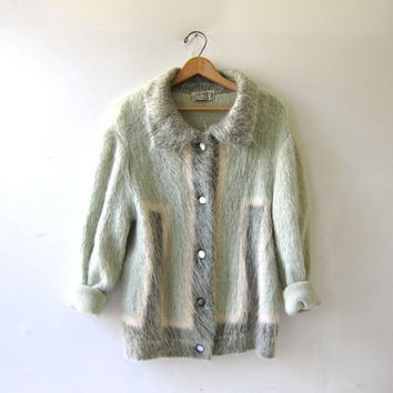 Vintage shaggy mohair cardigan sweater. 50s wool Switzerland sweater. Gray mint cream furry sweater coat.