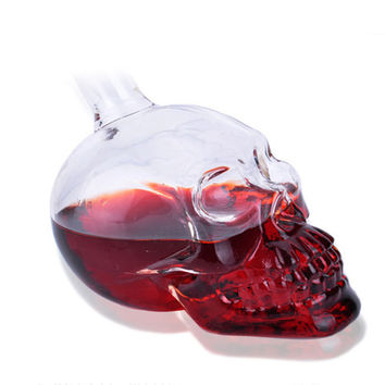 125ML Crystal Skull Shot Whiskey Wine Drinking Home Bar Glass Bottle Decanter