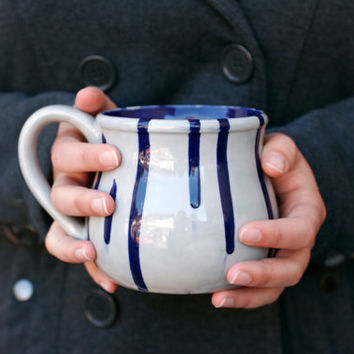 Choose A Custom Color - Cobalt Blue, Emerald Green, Mint, Red - Large Potter's Mug Coffee Or Tea Spring Gift - Hand Painted - Made To Order