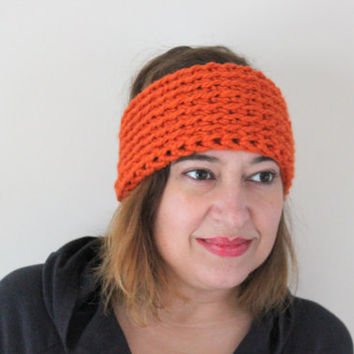 Pumpkin Headband, Orange Headband, Wool Headwarmer, Crochet Earwarmer, Crochet Headband, Chunky Crochet Headband