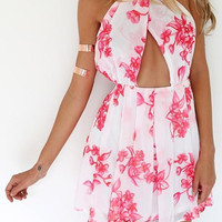 White Halter Backless Cut Out Dress