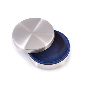 Brushed Finish Silver Plated Round Keepsake Box.