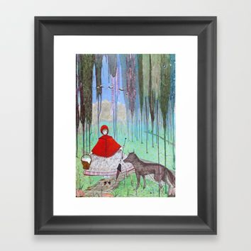 Little Red Riding Hood Framed Art Print by Wild Strawberries
