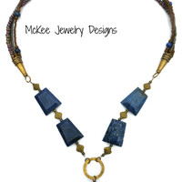 Dark blue and bronze necklace. Gemstone, seed beads and metal.