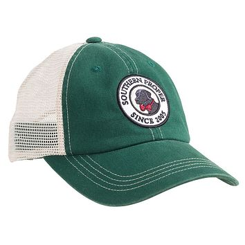 Original Logo Patch Trucker Hat in Green by Southern Proper