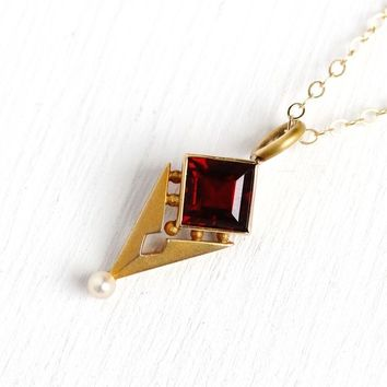 Genuine Garnet Necklace - Antique 14k Rosy Yellow Gold Stick Pin Conversion Charm Pendant - 1910 Edwardian Era Seed Pearl Fine Gem Jewelry