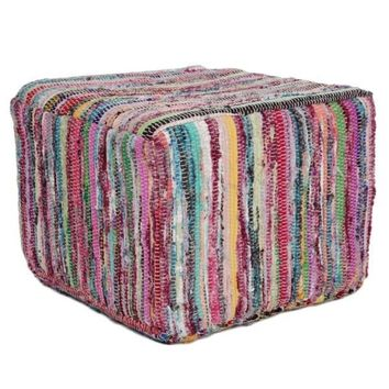 Roped Yarn Knit Colorful Boho Pouf Ottoman