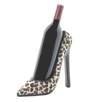 Leopard Print Chic High Heel Shoe Wine Bottle Holder