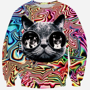 Trippy Kitten Crew Neck Sweatshirt Men & Women Harajuku Style All Over Print Sweater