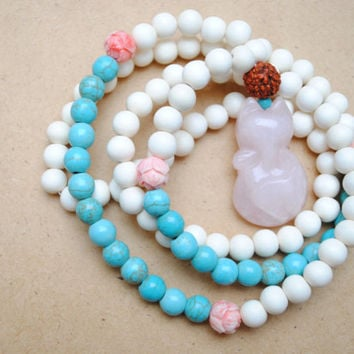 Turquoise, White Wood, Rudraksha & Rose Quartz Mala Bead Necklace, Yoga Jewelry, Meditation, White Turquoise Pink Fox, Prayer Beads