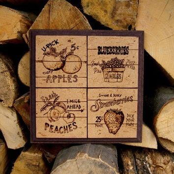 Fruits pyrography kitchen decoration