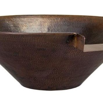 "Solana  31"" Round Water Bowl - Hammered Copper"