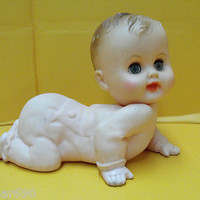 Vintage Rubber Doll/Baby/Toy Crawling Baby Squeaks Eyes Close 1964 Bonnytex