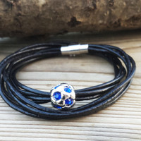 Leather Wrap Bracelets, Football Bracelet, Men Bracelets, Football Lovers, Black Leather Cord Bracelets, Gifts For Men Footballer