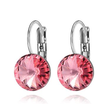 Gorgeous Special Magical Large Stud Style Sweet Pink Sparkling Crystals Silver-Tone Earrings