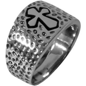 ESBGQ9 Dimpled Medieval Cross - Silver Ring