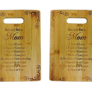 Recipe for a Mom Cutting Board Set of 2 - Cute Funny Laser Engraved Bamboo Cutting Board - Wedding, Housewarming, Anniversary, Birthday, Mother's Day