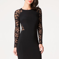 bebe Womens Elsa Lace Block Dress Black