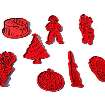 1960s Tupperware Cookie Cutters Red Plastic Christmas Halloween Thanksgiving Easter Birthday