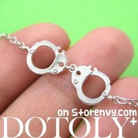 Small Realistic Handcuff Charm Bracelet in Silver | DOTOLY