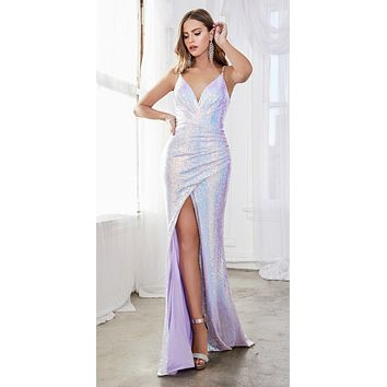 Fitted Sequin Gown Opal Lilac Gathered Waistline Embellished Spaghetti Straps
