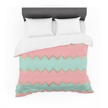 "Monika Strigel ""Avalon Soft Coral and Mint Chevron"" Orange Green Featherweight Duvet Cover"